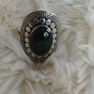 Silver and Tiger Eye stone ring